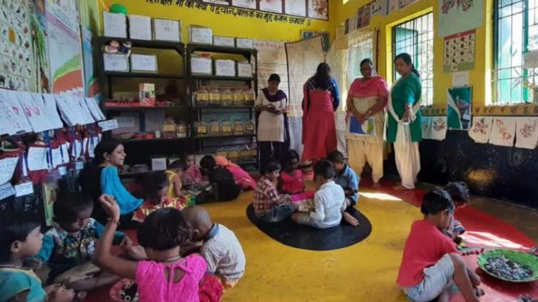 Raipur, Anganwadi center, Started getting kids, Play school atmosphere,