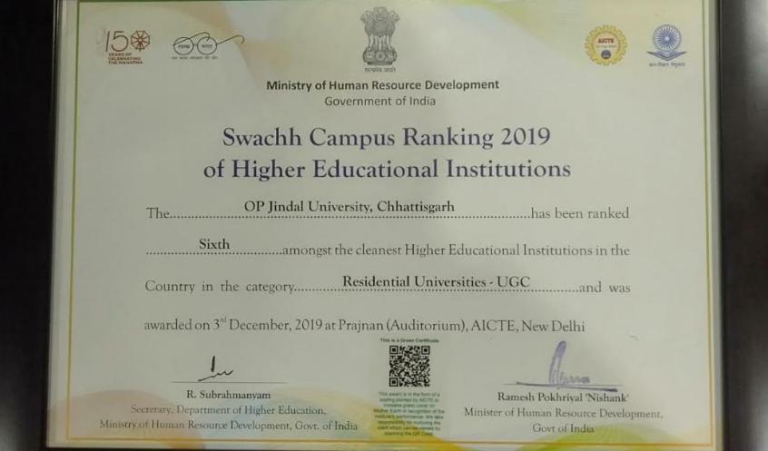 Clean Campus Ranking 2019, Jindal awarded 6th rank, OP Jindal University, Raigad,