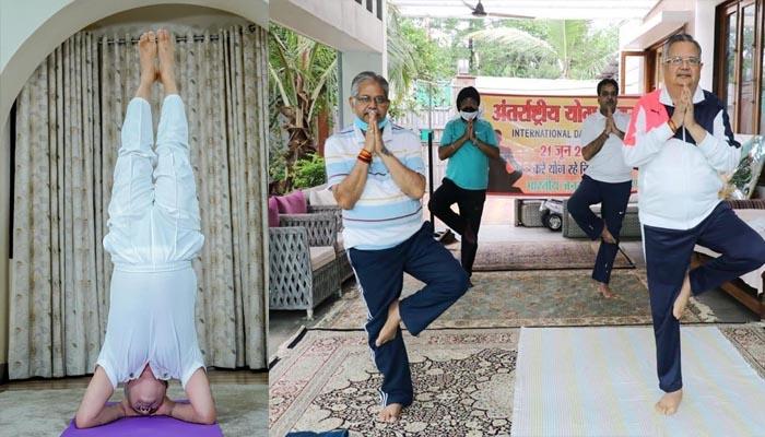 अंतरराष्ट्रीय योग दिवस: सीएम भूपेश बघेल ने लगाया 'शीर्षासन' तो पूर्व सीएम ने किया 'एक पाद प्रणामासन'