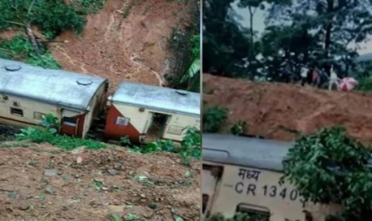 Goa: पूरी ट्रेन जमीन में गिरी, कई इलाकों में बाढ़ का कहर